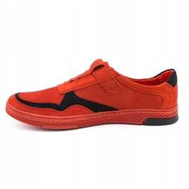 Polbut Men's casual leather shoes 2102 red 1