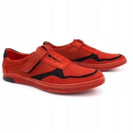 Polbut Men's casual leather shoes 2102 red 2