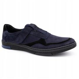 Polbut Men's casual leather shoes 2102 navy blue 2