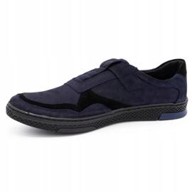 Polbut Men's casual leather shoes 2102 navy blue 3