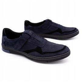 Polbut Men's casual leather shoes 2102 navy blue 5
