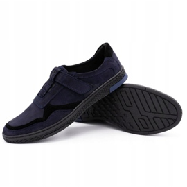 Polbut Men's casual leather shoes 2102 navy blue 6