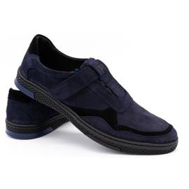 Polbut Men's casual leather shoes 2102 navy blue 7