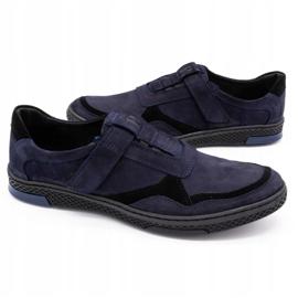 Polbut Men's casual leather shoes 2102 navy blue 8