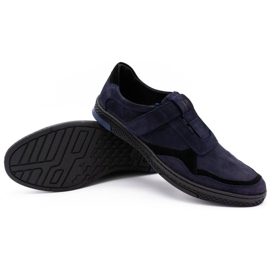 Polbut Men's casual leather shoes 2102 navy blue 9