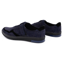 Polbut Men's casual leather shoes 2102 navy blue 1