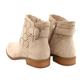 Daszyński Women's openwork suede boots SA142-18 beige 4