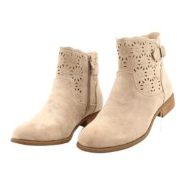 Daszyński Women's openwork suede boots SA142-18 beige 2