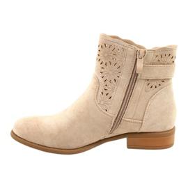 Daszyński Women's openwork suede boots SA142-18 beige 1
