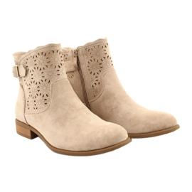 Daszyński Women's openwork suede boots SA142-18 beige 3