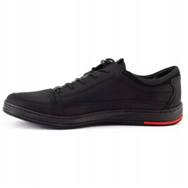 Polbut Men's leather casual shoes K22N black 1