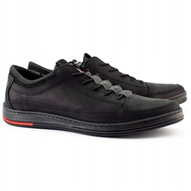 Polbut Men's leather casual shoes K22N black 3