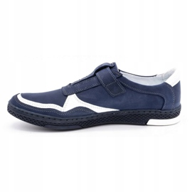 Polbut Men's casual leather shoes 2102 navy blue with white 1