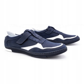Polbut Men's casual leather shoes 2102 navy blue with white 2