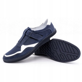 Polbut Men's casual leather shoes 2102 navy blue with white 3