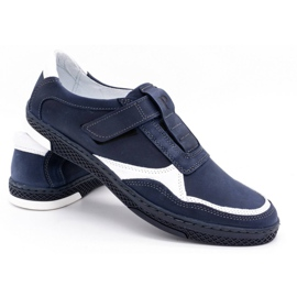 Polbut Men's casual leather shoes 2102 navy blue with white 4