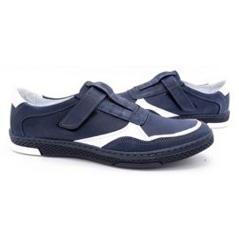 Polbut Men's casual leather shoes 2102 navy blue with white 5