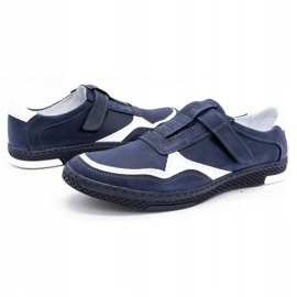 Polbut Men's casual leather shoes 2102 navy blue with white 6