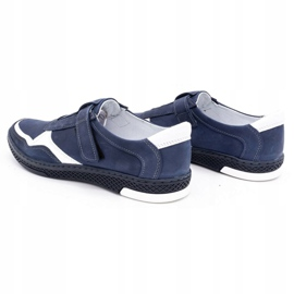 Polbut Men's casual leather shoes 2102 navy blue with white 7