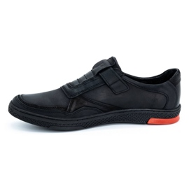 Polbut Men's casual leather shoes 2102 black with red 3