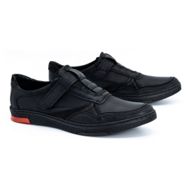 Polbut Men's casual leather shoes 2102 black with red 4