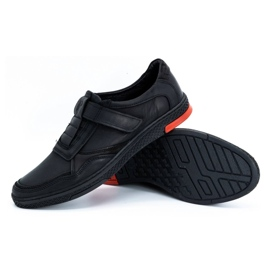 Polbut Men's casual leather shoes 2102 black with red 5