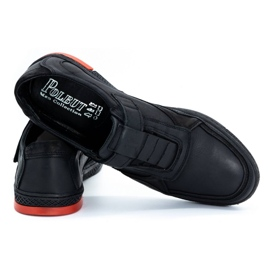 Polbut Men's casual leather shoes 2102 black with red 6