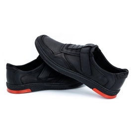 Polbut Men's casual leather shoes 2102 black with red 7