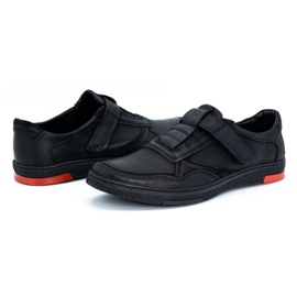 Polbut Men's casual leather shoes 2102 black with red 8