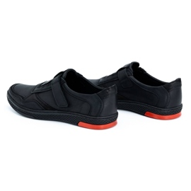 Polbut Men's casual leather shoes 2102 black with red 9