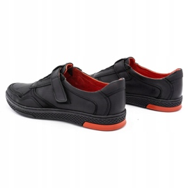 Polbut Men's casual leather shoes 2102 black with red 10