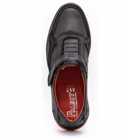 Polbut Men's casual leather shoes 2102 black with red 2