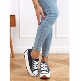 Designer sneakers with navy blue VL137P D.BLUE sole 4