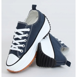Designer sneakers with navy blue VL137P D.BLUE sole 1