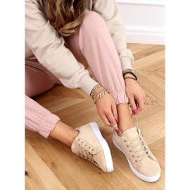 Beige women's beige sneakers C2006 2