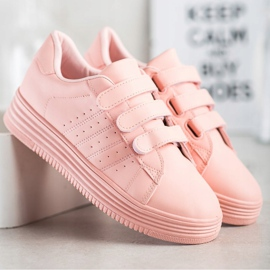 SHELOVET Fashionable Velcro Sneakers pink 3