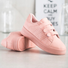 SHELOVET Fashionable Velcro Sneakers pink 4