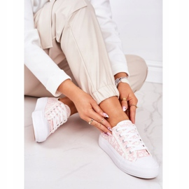 PS1 Daphne Women's Logged Sneakers White and Pink 3