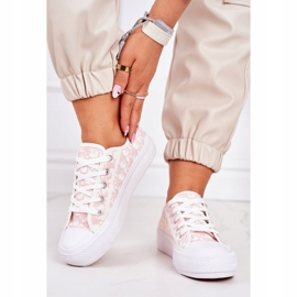 PS1 Daphne Women's Logged Sneakers White and Pink 2