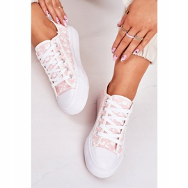 PS1 Daphne Women's Logged Sneakers White and Pink 4