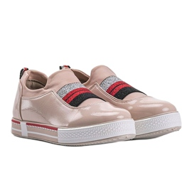 Jayde lacquered beige trainers 4
