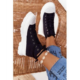 FB2 Women's High Sneakers On A Large Sole Black Trissy 1
