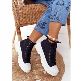 FB2 Women's High Sneakers On A Large Sole Black Trissy 3