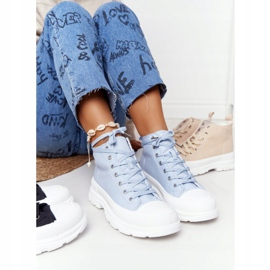 FB2 Women's High Sneakers On A Large Sole Blue Trissy 4