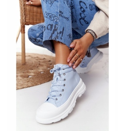 FB2 Women's High Sneakers On A Large Sole Blue Trissy 5
