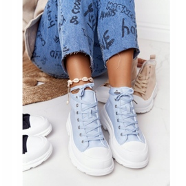 FB2 Women's High Sneakers On A Large Sole Blue Trissy 3