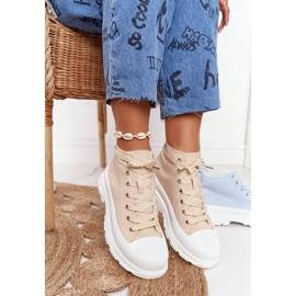 FB2 Women's High Sneakers Beige Trissy On A Large Sole 1