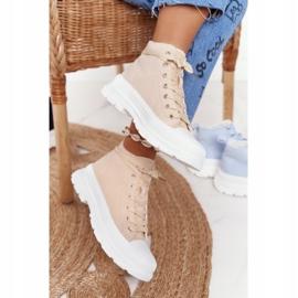 FB2 Women's High Sneakers Beige Trissy On A Large Sole 2