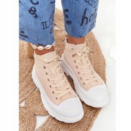 FB2 Women's High Sneakers Beige Trissy On A Large Sole 3