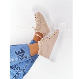 FB2 Women's High Sneakers Beige Trissy On A Large Sole 6